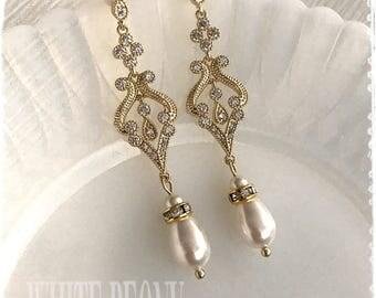 """Light Gold 1920s Art Deco Gatsby Bridal Crystal Pearl Drop Gold Earrings-Downton Abbey Boho Cubic Zirconia Chandelier Earrings-""""BELLE gold"""""""