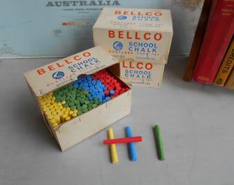 "Retro Vintage Bellco School Chalk Dustless Type ""A"" - 200 Sticks Per Box - NOS - 1980's  #10364"