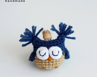 Cool gifts for guys Fun keychain Sleeping owl charms Crochet amigurumi toys Brother gifts Key chain accessory College student gift Keyring