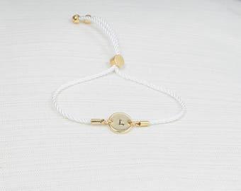 Gold Initial Bracelet, Cord Bracelet , Personalised Disc Bracelet, Initial Bracelet, Stacking Bracelet, Dainty bracelet