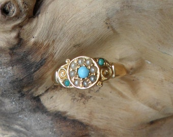 Victorian 18ct Turquoise and Seed Pearl Ring