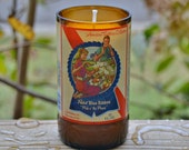 Pabst Blue Ribbon (PBR) beer bottle candle made with soy wax - American Traditions Collection