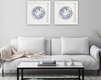 "Blue Wall Art, Framed Art, Modern Blue Decor, Shadow Box Frame, Abstract Art, ""Precious Blue"" – **MADE TO ORDER Set of Two – 42cm"