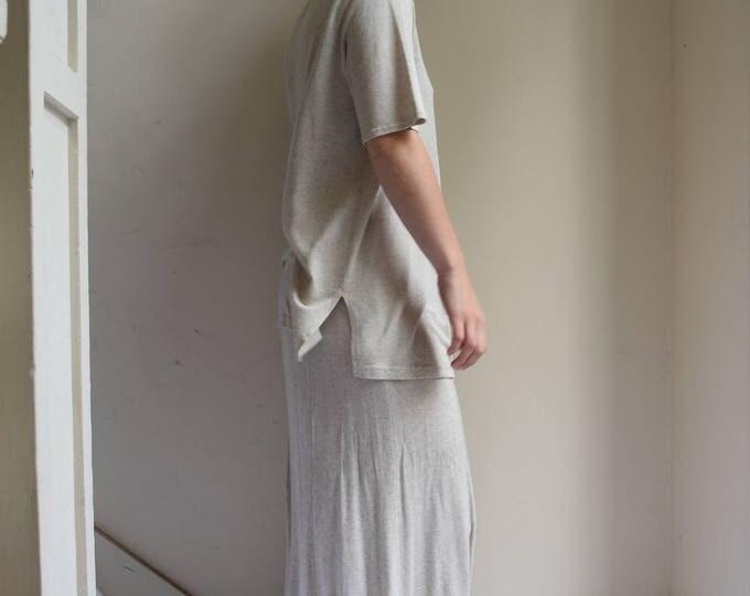 Oatmeal Linen Blend Skirt and T-shirt Set || Print Optional
