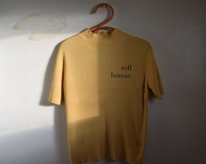 Soft Human Ribbed Cotton Mockneck Tee