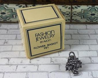 Vintage 1980's Avon Flower Basket Pin