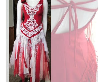 Western cowgirl tattered wedding dress shabby country western barn  dress.Red and white size 7/8