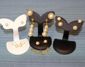 Vintage De-Stash Bulk Lot 7Pr Faux Pearl Earring Pierced Clips Screw Drops Studs GT & ST Bases Market Stall Re-Sale Dress-ups Gifts Exc
