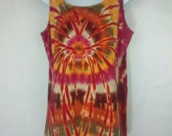 Tie dye vest, Orange vest top, 2 XL tie dye, Women's vest top, Ladies vest top, Hippy vest, Alternative vest, Festival vest, size 16-18 UK