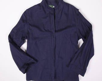 Women's 80s Vintage Izod Lacoste For Her Ramie Blend Linen Textured Bi-Swing Jacket Navy Blue Size M