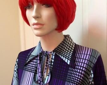 Purple 1970s maxi dress with geometric pattern S-M