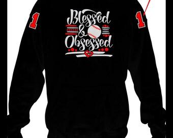 Baseball Blessed and Obsessed Hoodie, Baseball Mom Hoodie, Baseball Team Hoodie, Baseball Team Mom Gift, Baseball Mom Gift Sweatshirt