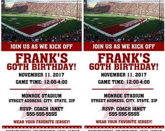 Printable Washington State Football Birthday Party Invitation NCAA Ticket Invitation Card Tickets Invitation