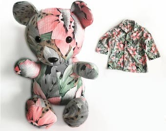 Handmade Memory Bear Stuffed Keepsake Onesie Bear with Custom Embroidery Memory Teddy Bear Keepsake with Birthdate and Name Embroidery