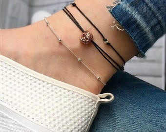 Elephant anklet, ankle bracelet, silver anklet, gold anklet, rose gold anklet. Perfect elephant gift, good luck charm or good luck gift.