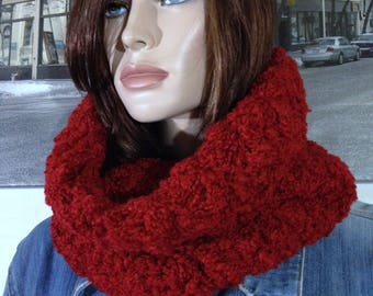 Handmade Hooded Scarf, Double Thick Bright Red Super Soft Winter Cowl Scarf, Infinity Scarf Winter Gift for Her Tube Scarf READY TO SHIP
