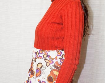 60s 70s Psychedelic Floral Mini Skirt