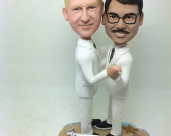 Gay Male Wedding Cake Topper Personalized Gay Wedding Cake Topper Figurine Gay Cake Topper Gay Male Wedding Gift Gay Male Custom Bobble Head