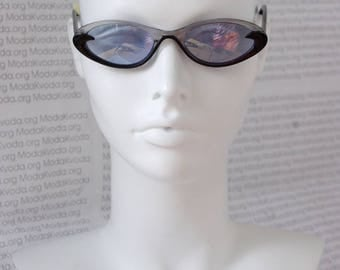 Oval Noir Elegant Sunglasses / Collectible Rare Shades / Hippie Boho Lunettes / Gift for her