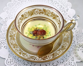 Royal Chelsea, Signed Teacup & Saucer, Fruit Orchard Pattern, Gilded Borders, Bone English China made in 1970s