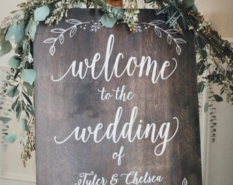 Welcome to the Wedding of custom name and date sign   Custom Color Options Available