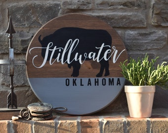 Custom Hometown State Pub Sign Rustic Wood Sign Oklahoma Hand Painted Wedding Gift Housewarming Gift Home Decor