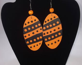Orange and Black hand painted wooden earrings; Perfect for City Knights Alum; Baltimore Orioles; lightweight earrings