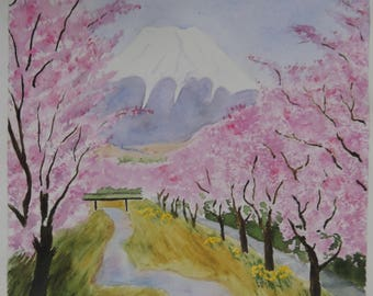 Watercolor Japan: Flowering of the cherry trees of Japan