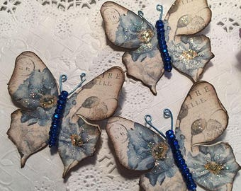Denim Blues Glass Bodied Butterflies DarlingArtByValeri Set for Scrapbooking Embellishment Mini Albums Cards Wedding Gifts Hair Clips