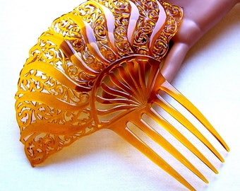 Amber colour hair comb Art Deco Spanish style hair accessory headdress headpiece decorative comb hair ornament