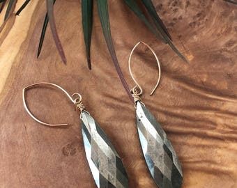 Wire Wrapped Pyrite Drop Earrings 2.75""