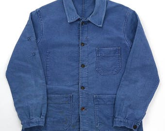 French vintage blue moleskin work jacket/France 1950's/Timeca/hand-repaired/faded blue/322