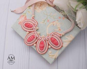 Bib Necklace Large Statement Necklace Pastel Soutache Jewelry Beaded Chunky Necklace Peach Necklace