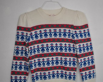 Kids holding hands world peace holiday sweater // love hearts // medium 10 12 // love bug