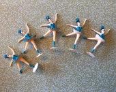 Vintage 1950s Ballerina Cupcake Toppers, Set of 5, Blue, Lisa Kettell Designs
