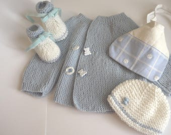 Set baby blue and white - top booties and bib baby boy set hand knitted Hat