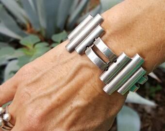 Vintage Sterling Silver Modernist Bar Link Cuff Bracelet