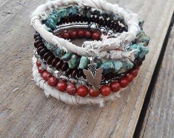 Southwestern Gypsy Boho Fabric Wrap Bracelet, African Turquoise and Red Jasper stones, wood beads