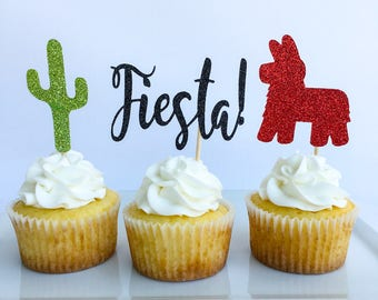 Fiesta cupcake toppers | Cinco dey mayo topper | Mexican cake topper | Cactus topper | Fiesta cake topper | Cinco dey mayo | Fiesta party