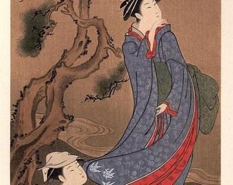 1906, Japanese antique woodblock print,Kubota Shunman, from Ukiyoe-ha-gashu.