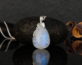 Moonstone necklace, rainbow moonstone, moonstone pendant, moonstone jewelry, moonstone drop shape, dainty moonstone, blue flash moonstone