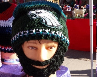 Eagles PHILADELPHIA EAGLES Bearded Beanie Embroidered Patch,Velcro on Both Sides Beard &Beanie to Adjust 4 Perfect fit and Remove Beard