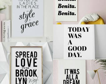 Printable Art 5-Pack, Art Prints, 90s Hip Hop Lyrics, Biggie Smalls, Ice Cube, A Tribe Called Quest, Well Versed Designs