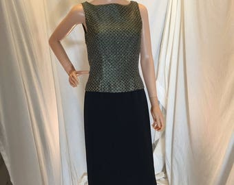Vintage MARIE ST CLAIRE Sleeveless Formal Dress Black Skirt and Metallic Beaded Bodice Tagged Size 4