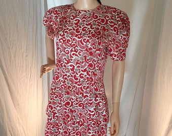 Vintage 80s Maggy London for Jeannene Booher 100% Silk Tiered Dress Red Gray and White 10