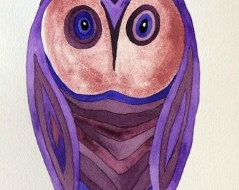 "Whimsical art, owl art, original watercolor painting, whimsical bird painting, 10""x7"" modern nursery decor, affordable fine art, nursery art"