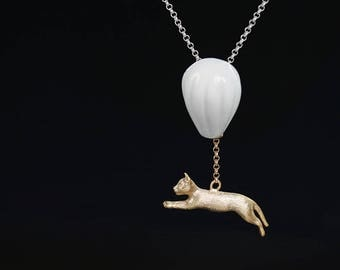 Cat Balloon Necklace-Gold Silver Cat Ivory Balloon Pendant-Flying Kitten-White Ceramics-Uniuqe gift for her
