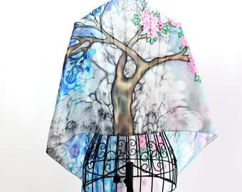 Elegant hand painted silk scarf -  At The Edge Of Spring - trees scarves- spring scarf- winter scarf-seasonal scarf