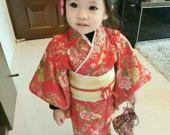 Japan kimono sakura custom order handmade for baby girl red