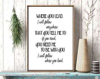 Where You Lead I Will Follow, Gilmore Girls Poster,Gilmore Girls Printable Art,Quote Printables,Theme Song, Carole King, Lyrics,stars hollow